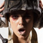 Soldier with a bloody face